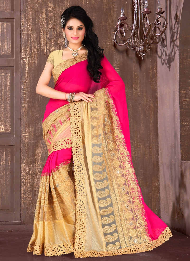 Modest Mirror And Resham Work Wedding Saree