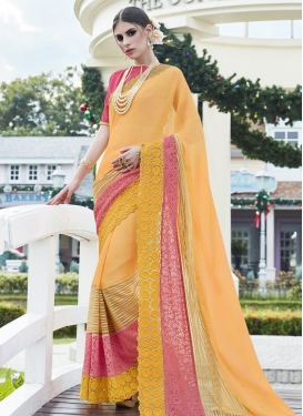 Modest Mustard and Salmon Traditional Designer Saree