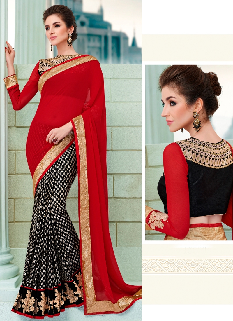 Modest Patch Border Work Half N Half Designer Saree