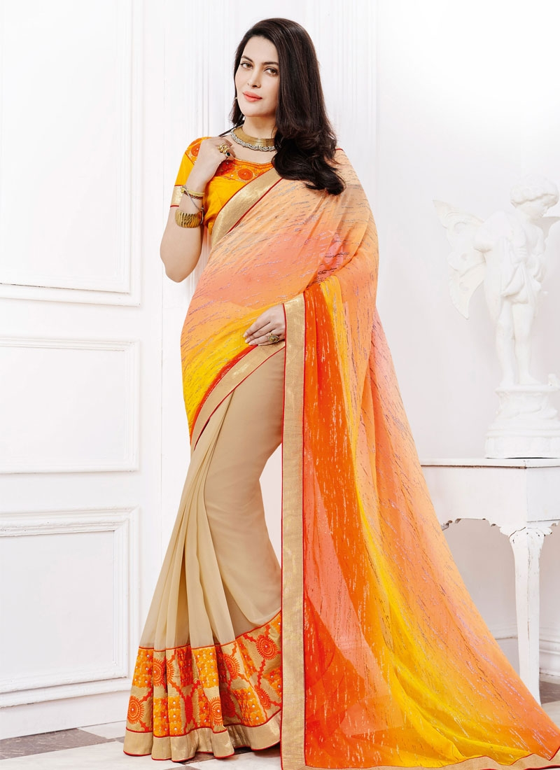 Modest Patch Border Work Half N Half Party Wear Saree