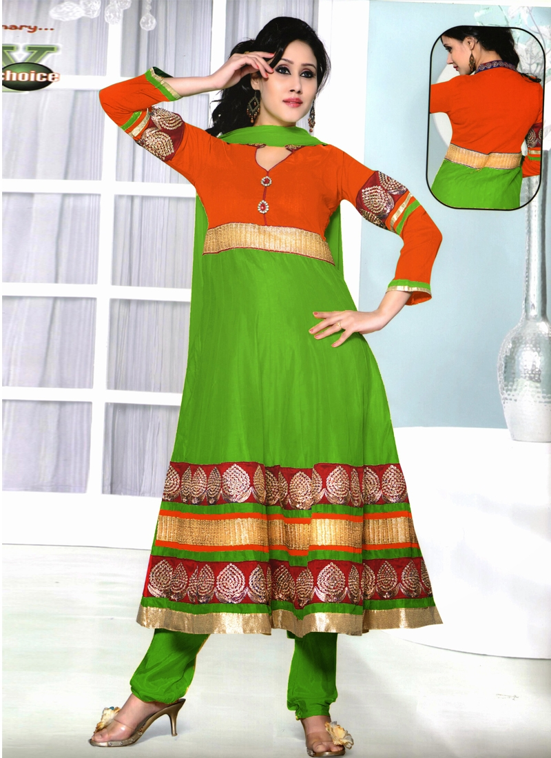 Modest Patch Work Readymade Anarkali Suit