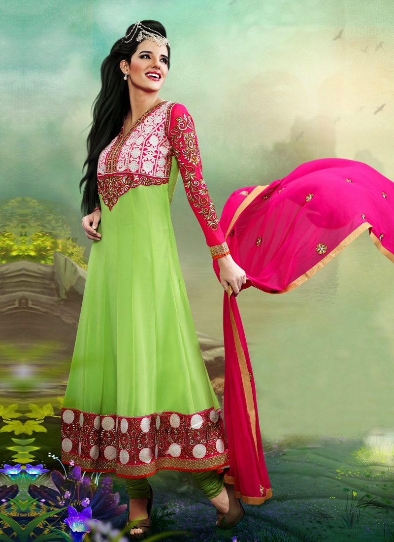 Modest Resham Work Geogette Anarkali Suit