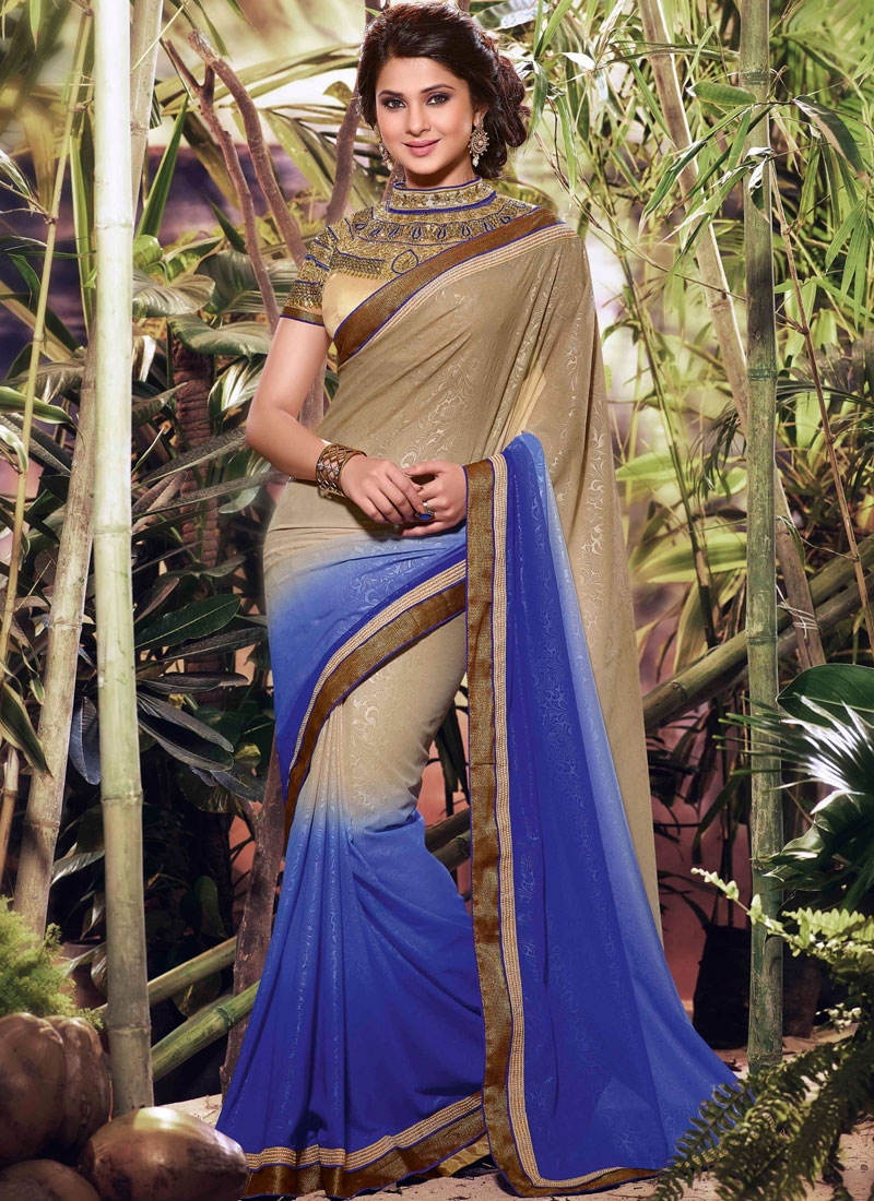 Modest Resham Work Jennifer Winget Party Wear Saree