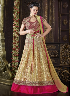Modest Rose Pink and Yellow Designer Kameez Style Lehenga For Festival