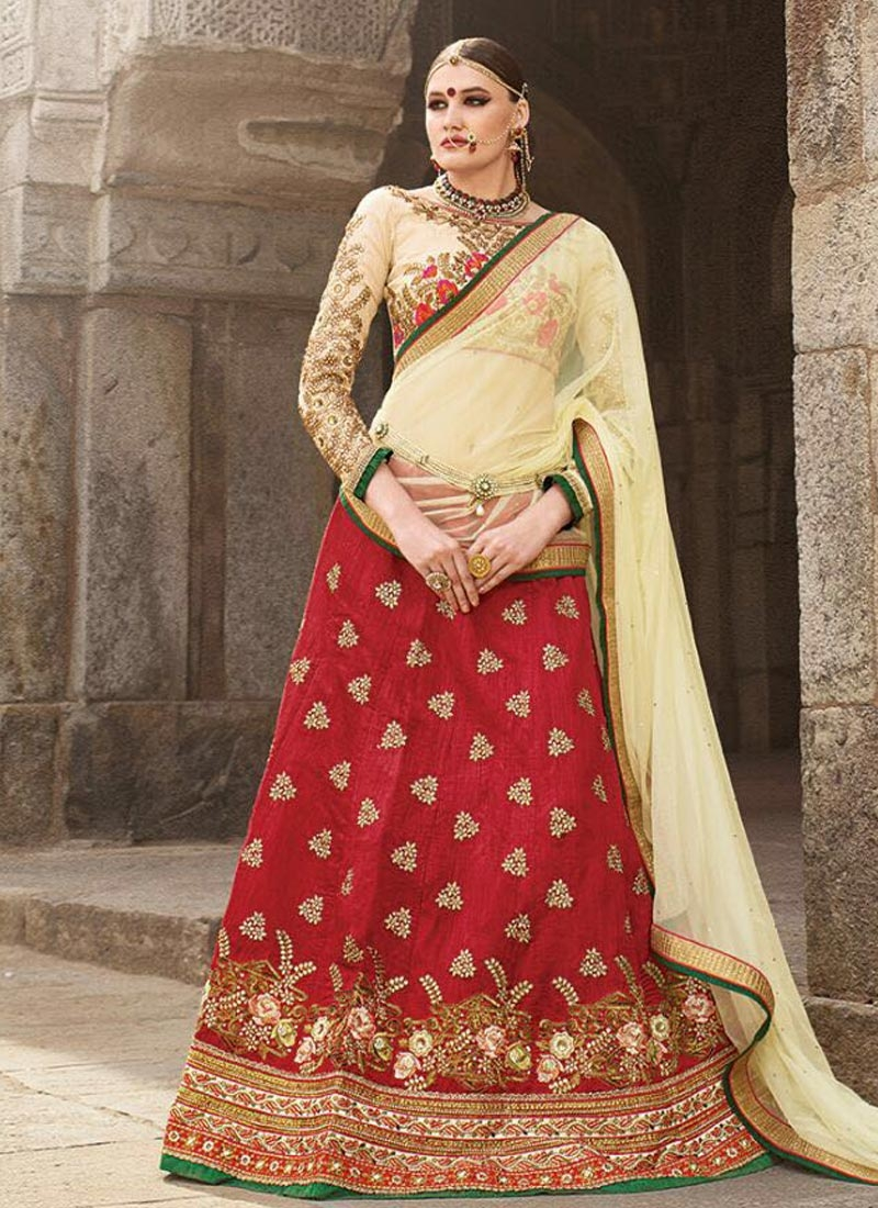 Modest Stone Work Silk Wedding Lehenga Choli