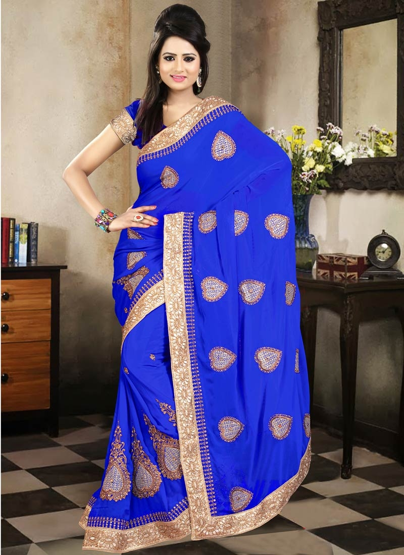 Modish Blue Color Mirror Work Party Wear Saree