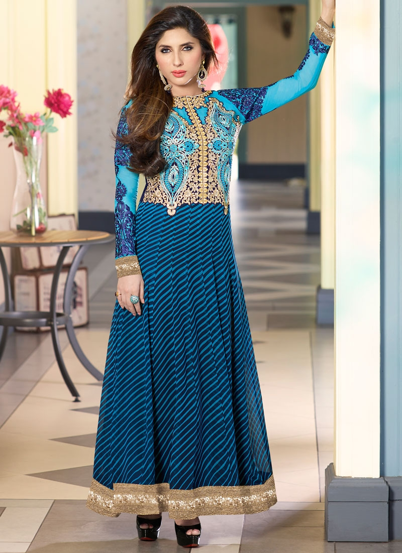 Modish Booti Work Ankle Length Anarkali Salwar Kameez