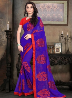 Modish  Embroidered Work Faux Georgette Blue and Red Contemporary Style Saree