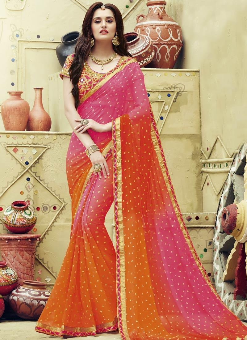 Modish Faux Chiffon Printed Party Wear Saree