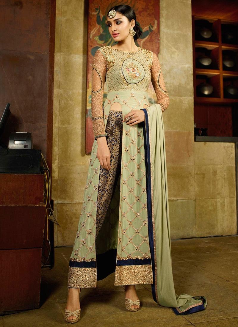 Modish Faux Georgette Lace Work Pant Style Designer Salwar Suit