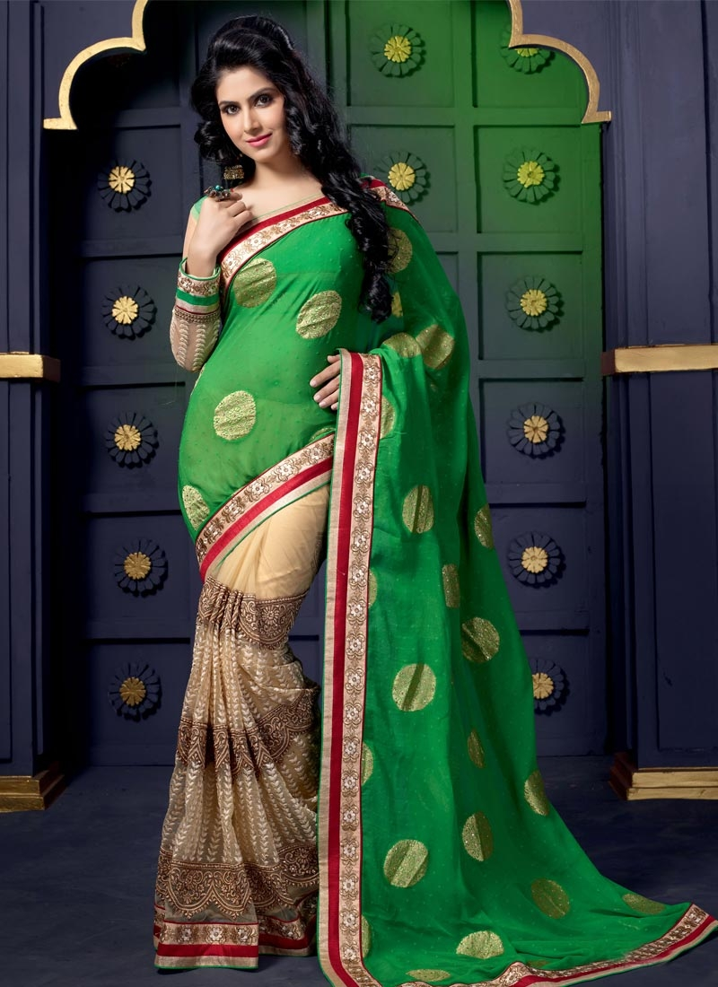 Modish Green And Beige Color Half N Half Wedding Saree