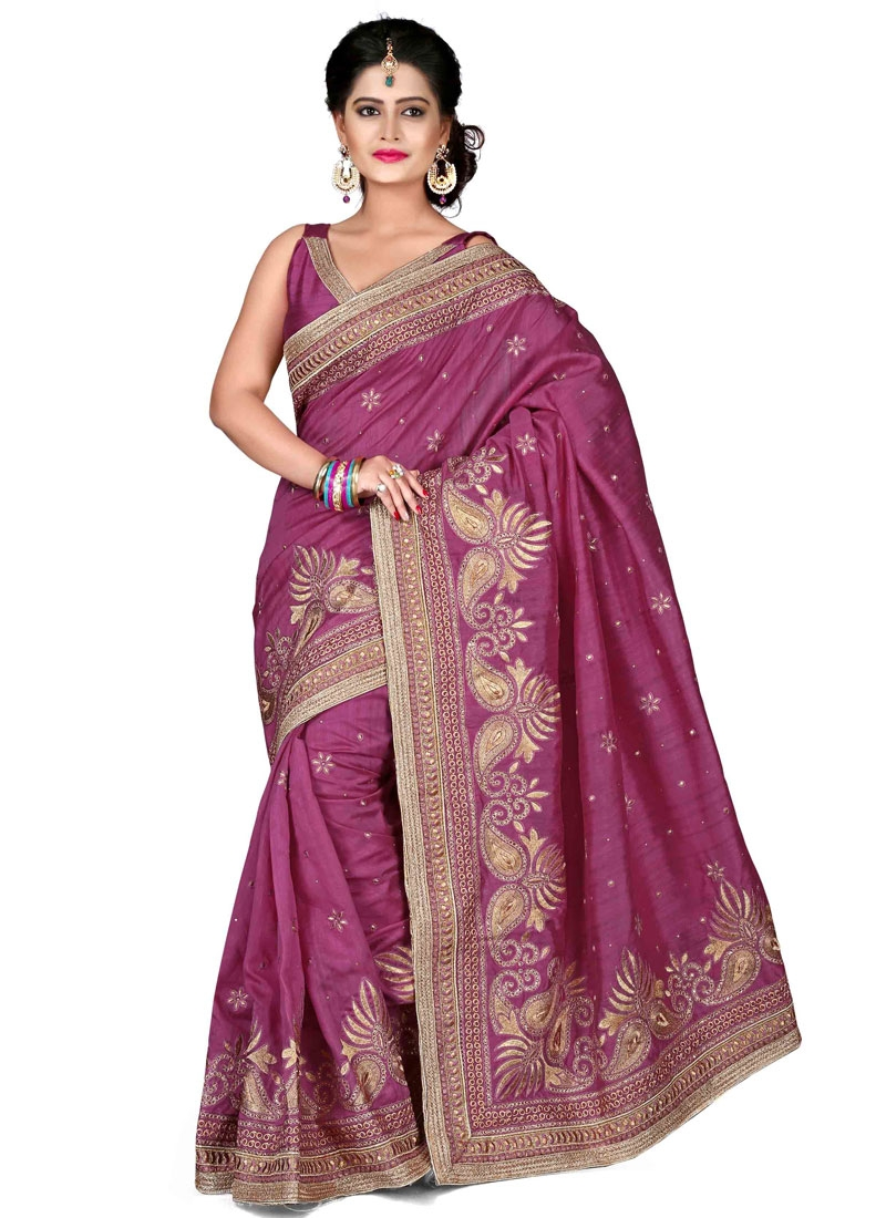 Modish Lace And Stone Work Designer Saree