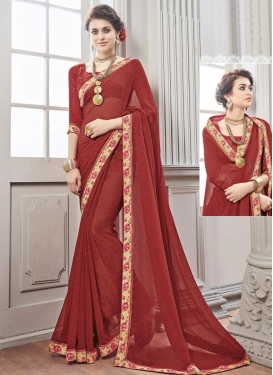 Modish  Lace Work Contemporary Style Saree For Ceremonial