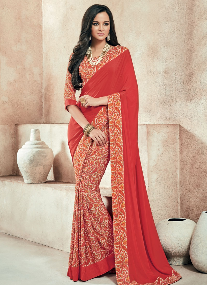 Modish Lace Work Half N Half Casual Saree