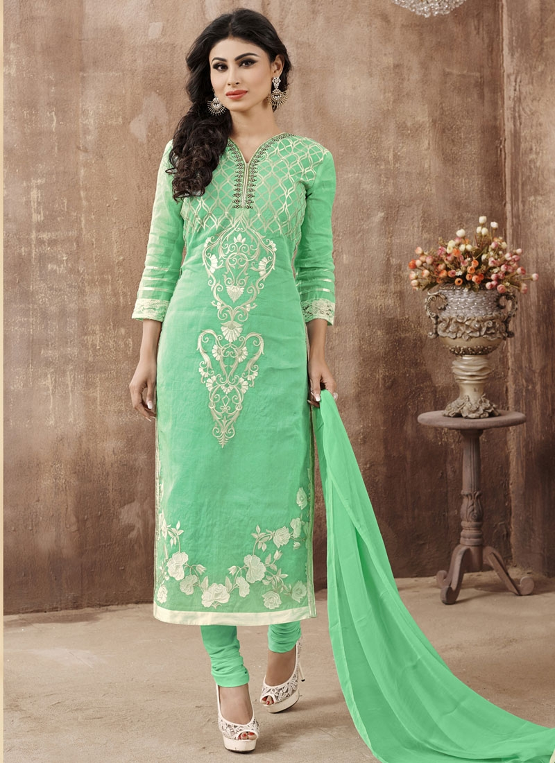 Modish Mint Green Color Mouni Roy Party Wear Suit