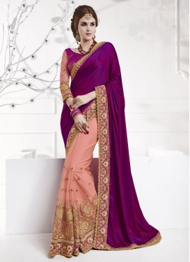 Modish Net Embroidered Work Designer Half N Half Saree For Festival