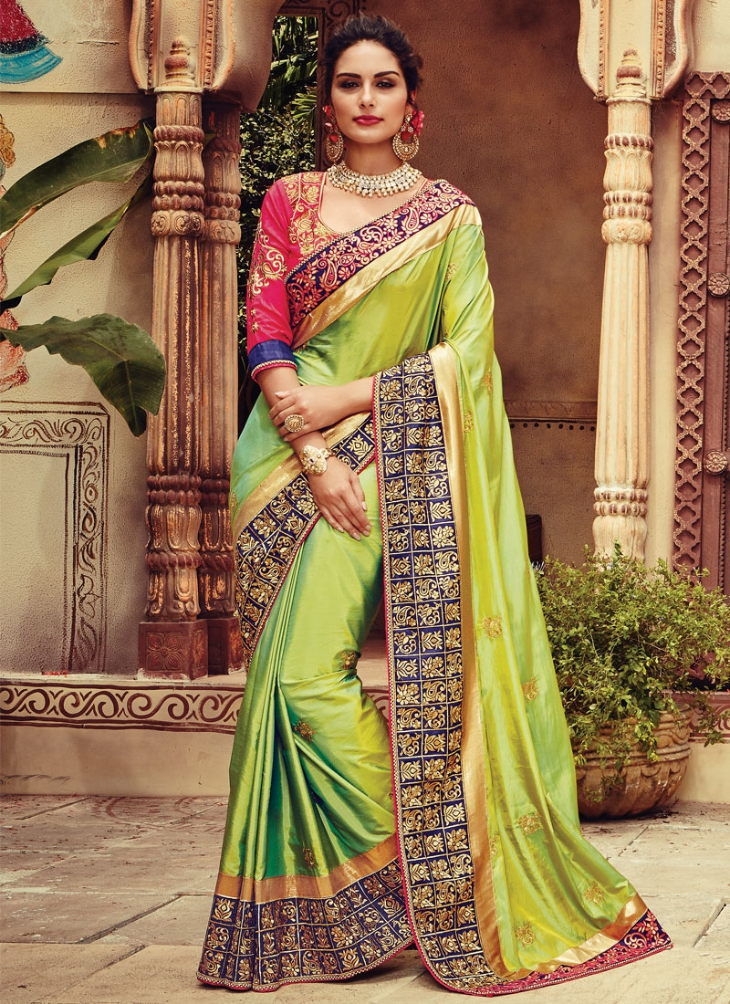 Modish Patch Border Work Chiffon Satin Designer Saree