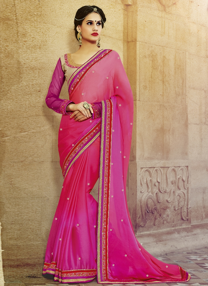 Modish Resham And Stone Work Party Wear Saree