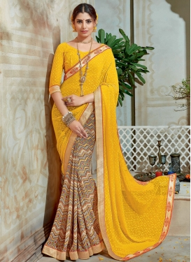 Monumental Abstract Print Work  Designer Half N Half Saree