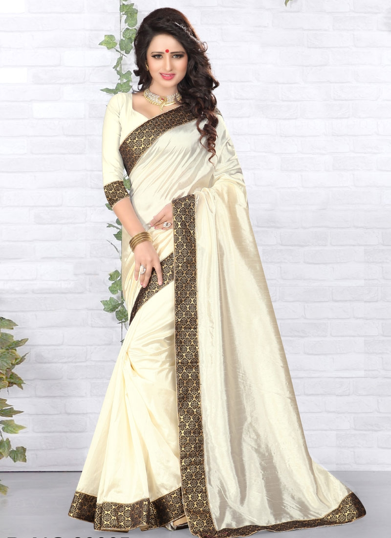Monumental Art Silk Lace Work Casual Saree