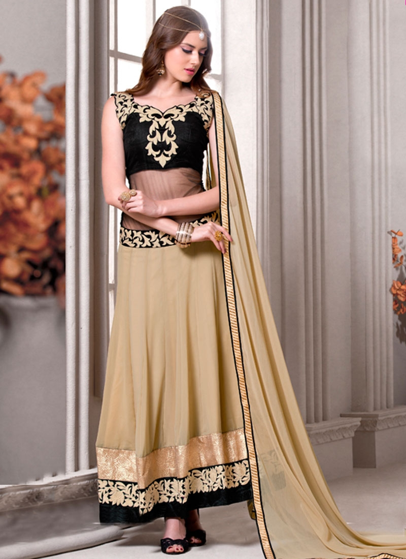 Monumental Beige And Black Color Long Length Designer Suit