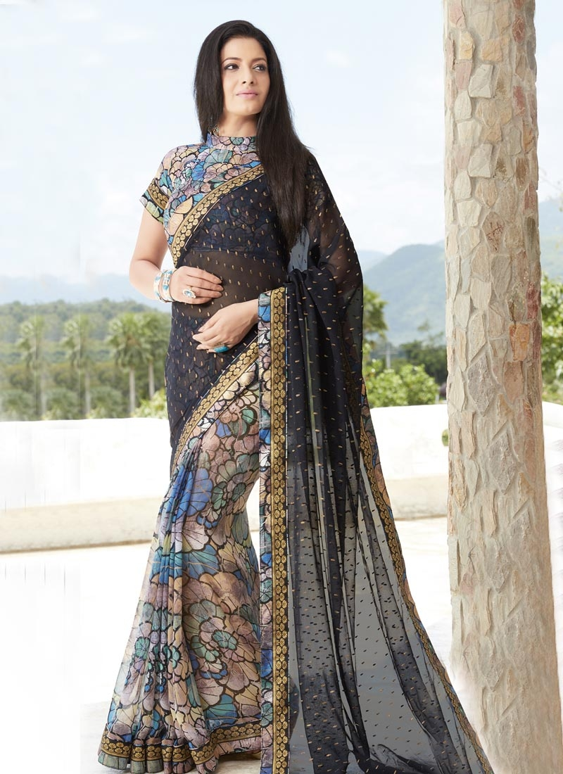 Monumental Beige and Black Digital Print Work Faux Chiffon Half N Half Designer Saree