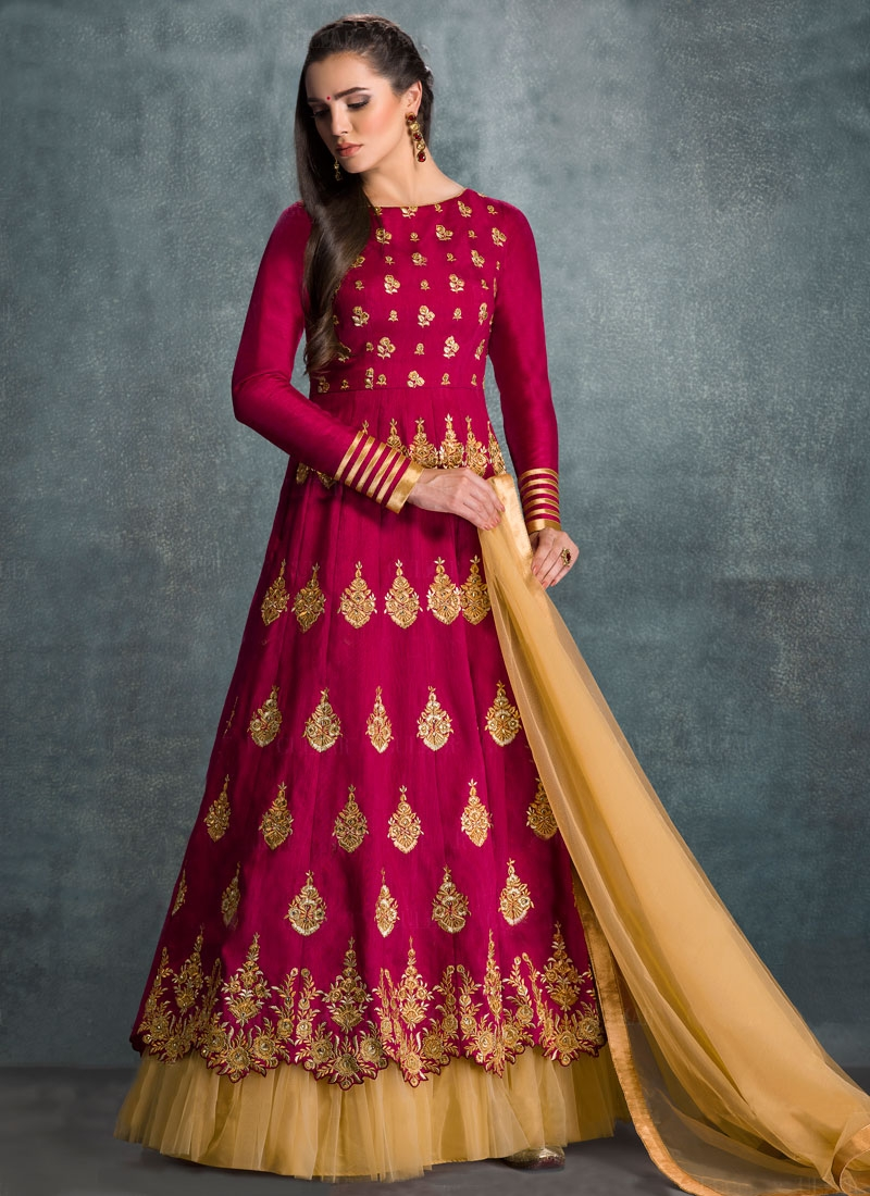Monumental Booti Work Floor Length Wedding Salwar Suit