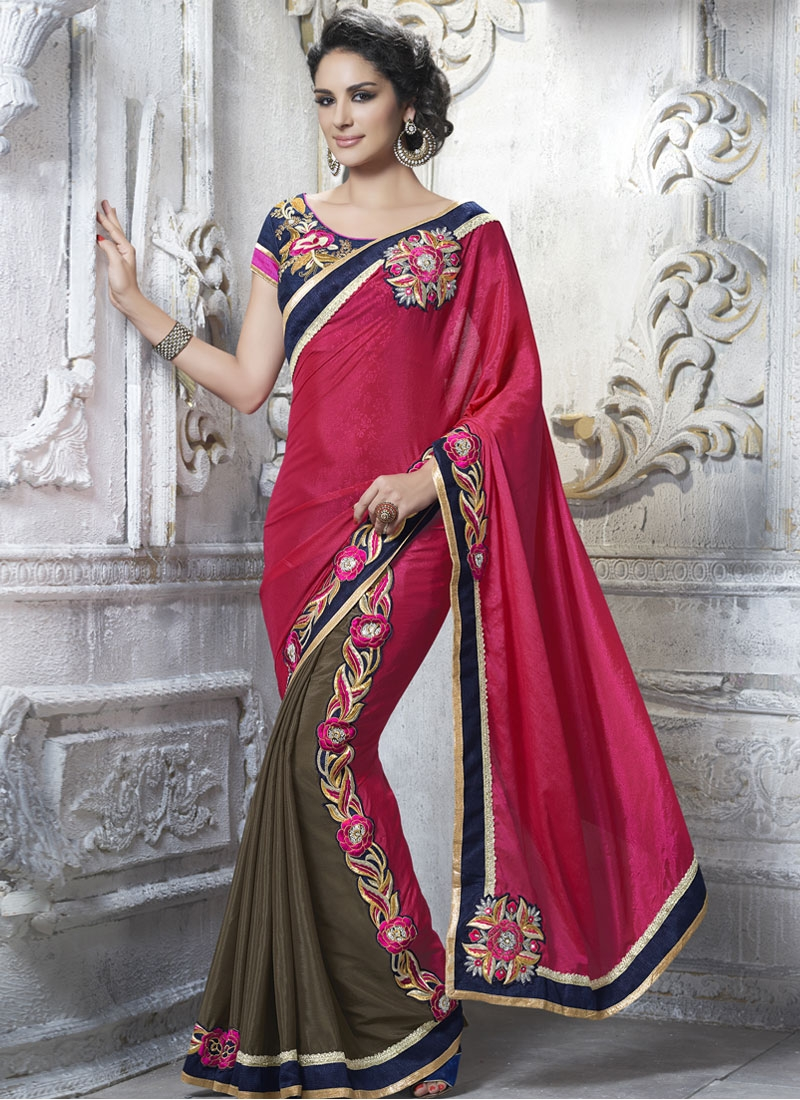Monumental Booti Work Half N Half Party Wear Saree