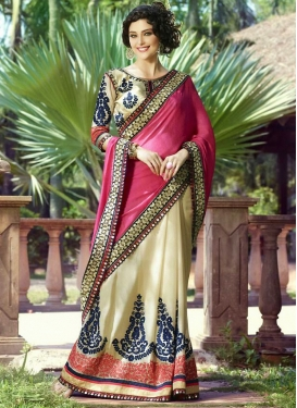 Monumental Booti Work Half N Half Wedding Saree