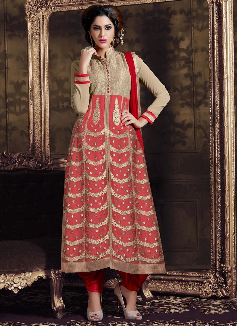 Monumental Booti Work Red Color Designer Salwar Suit