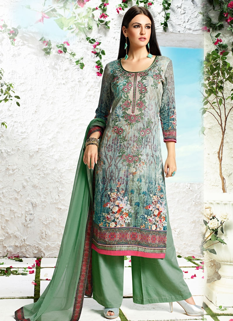 Monumental Cotton Satin Palazzo Style Party Wear Suit