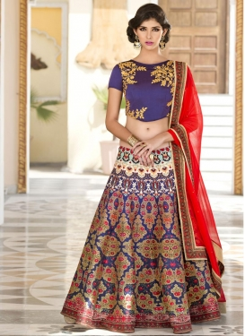 Monumental  Digital Print Work Navy Blue and Red Silk A - Line Lehenga