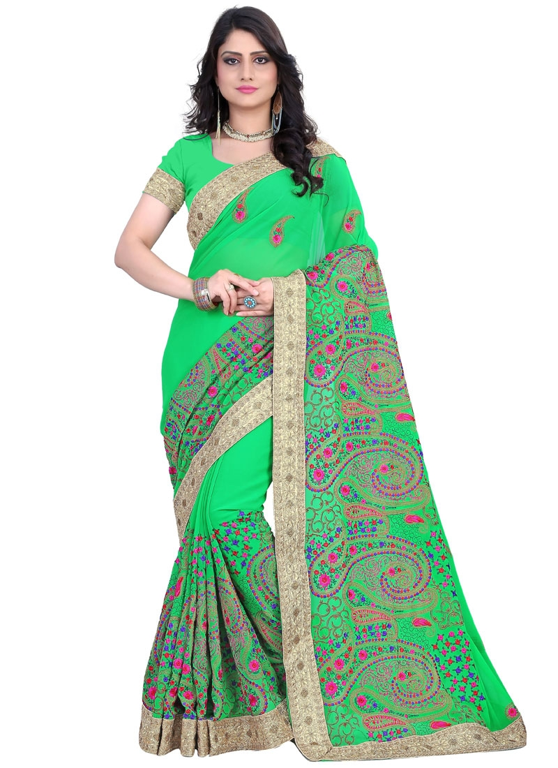 Monumental Embroidery And Floral Work Wedding Saree