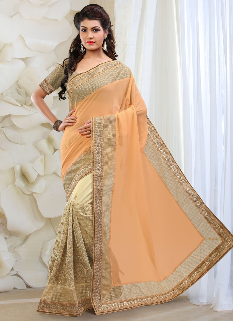 Monumental Embroidery And Lace Work Half N Half Wedding Saree