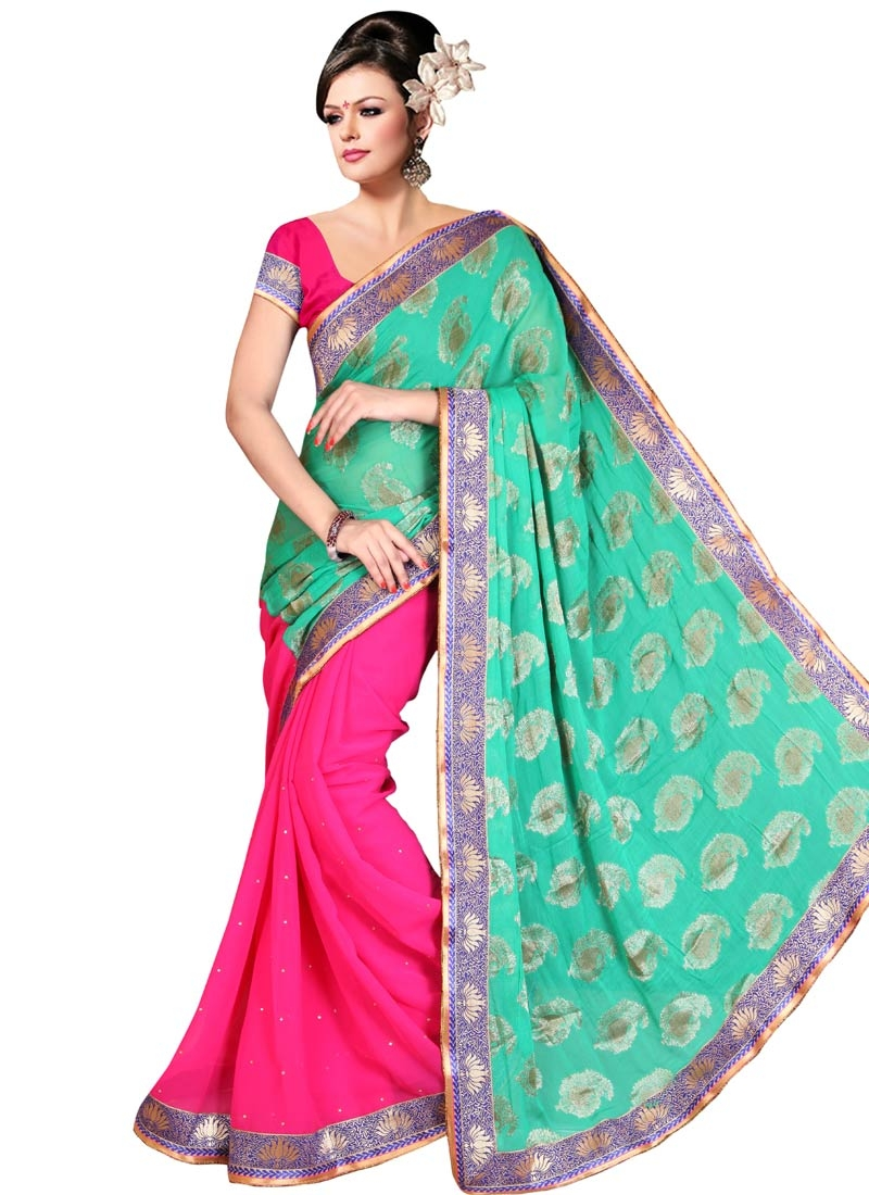 Monumental Faux Chiffon Stone Work Half N Half Party Wear Saree