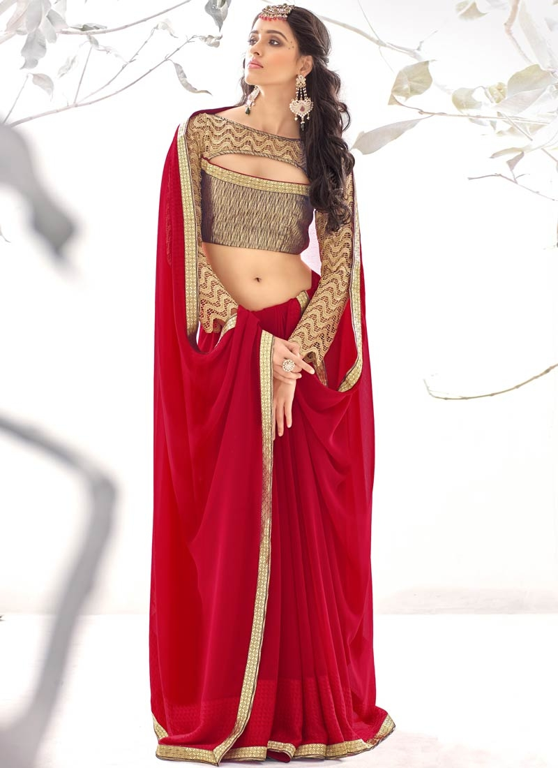 Monumental Faux Georgette Red Color Party Wear Saree