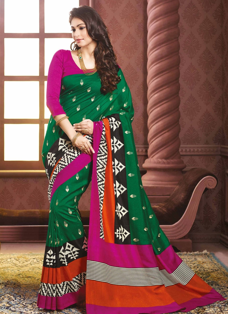 Monumental Green Color Art Silk Party Wear Saree