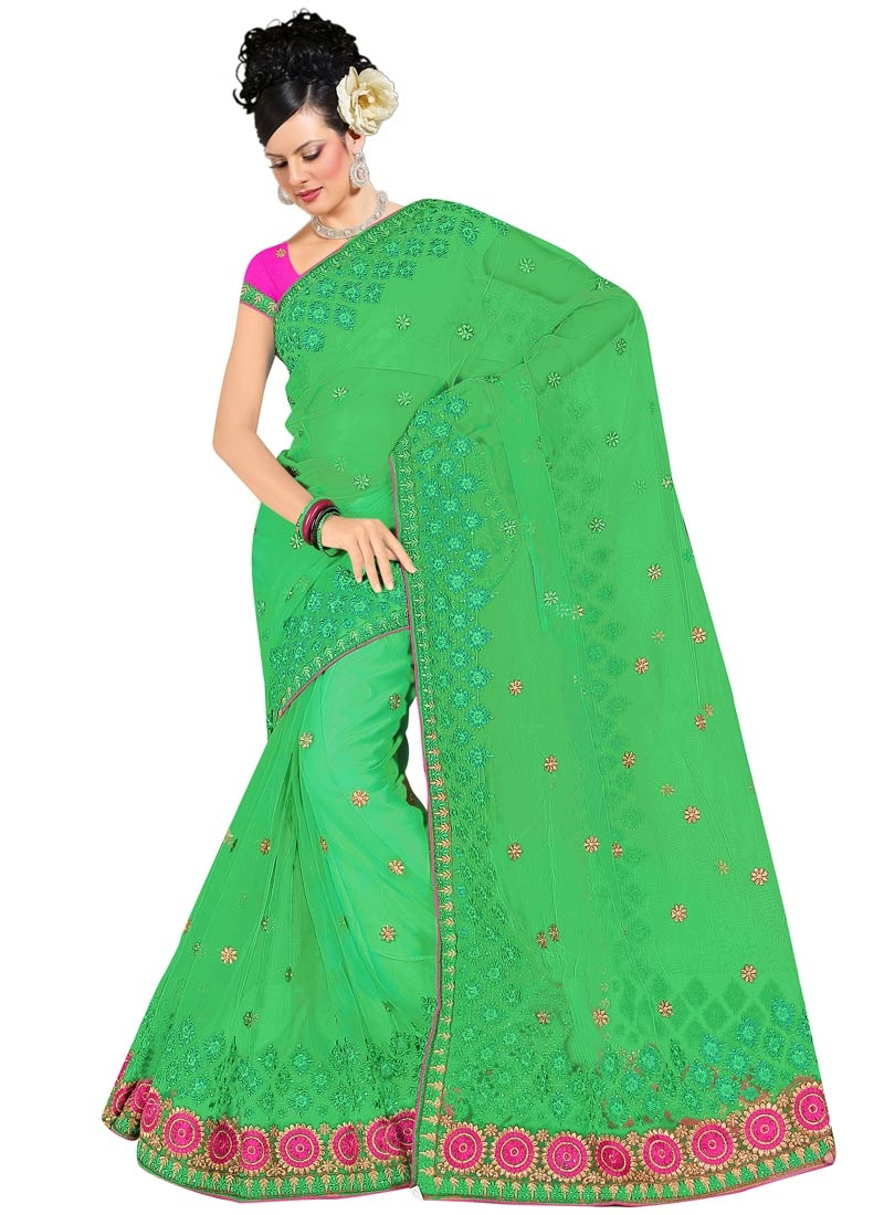 Monumental Green Color Net Party Wear Saree