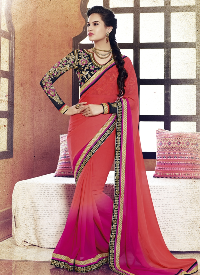 Monumental Lace Work Salmon Color Party Wear Saree