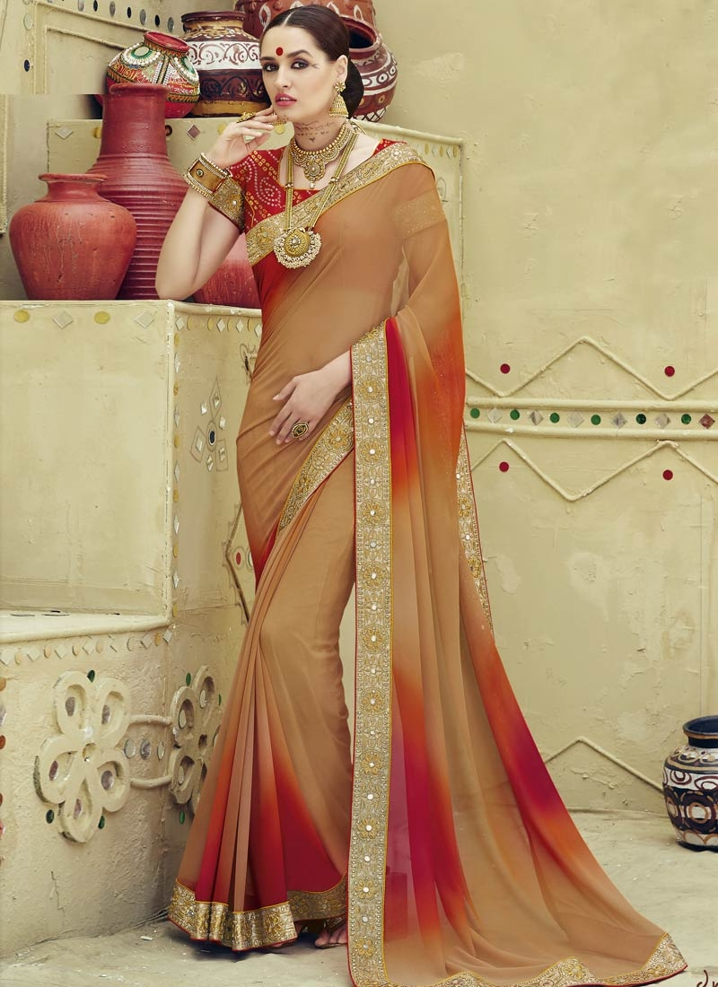 Monumental Mirror Work Brown Color Party Wear Saree