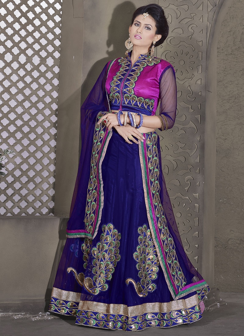 Monumental Navy Blue Color Party Wear Lehenga Choli