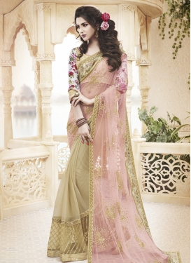 Monumental Patch Border Work Half N Half Designer Saree