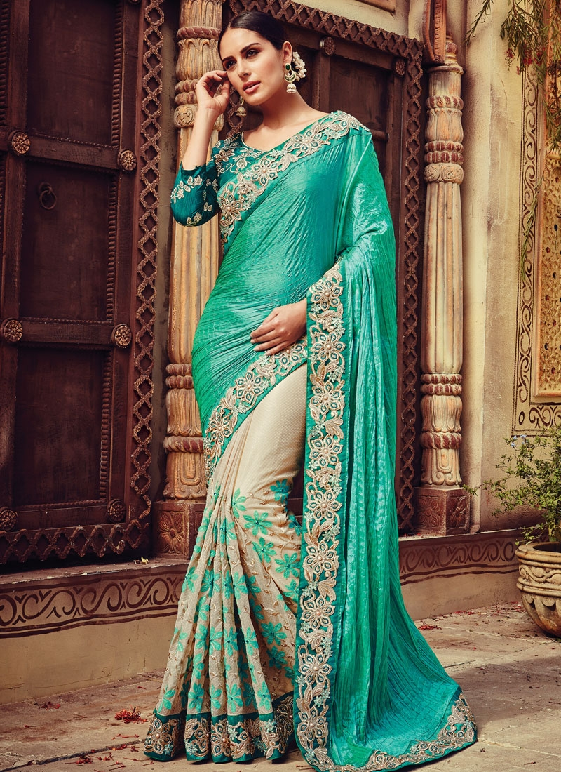 Monumental Resham Work Crush Half N Half Bridal Saree