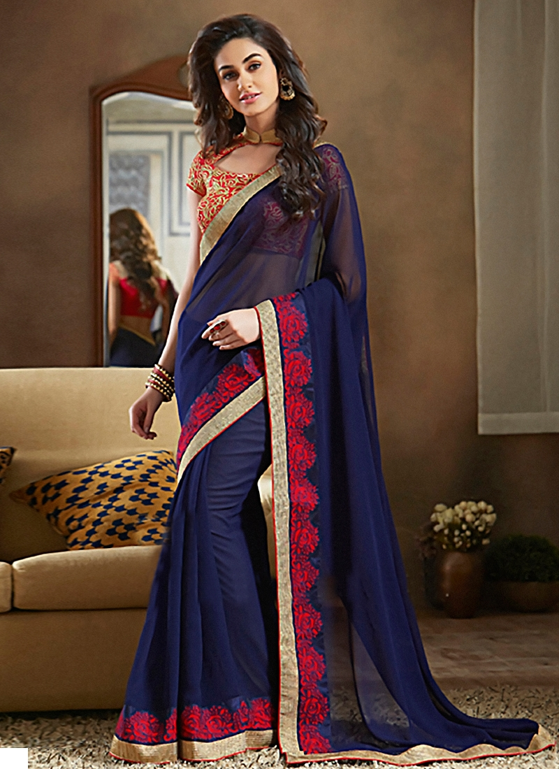 Monumental Resham Work Party Wear Saree
