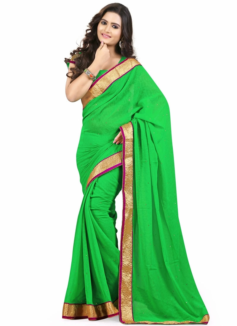 Monumental Stone And Lace Work Casual Saree