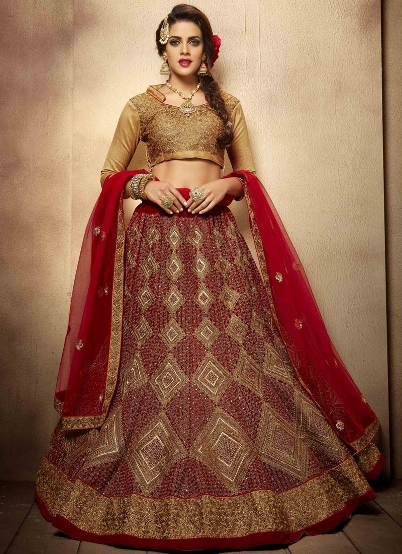Monumental Stone Work Crimson Color Bridal Lehenga Choli