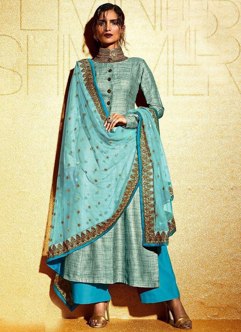 Monumental Stone Work Khadi Palazzo Style Designer Suit