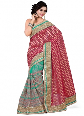 Monumental Viscose And Net Half N Half Wedding Saree