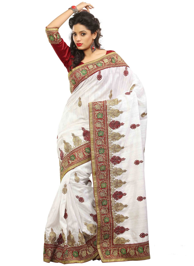 Monumental White Color Resham Work Party Wear Saree