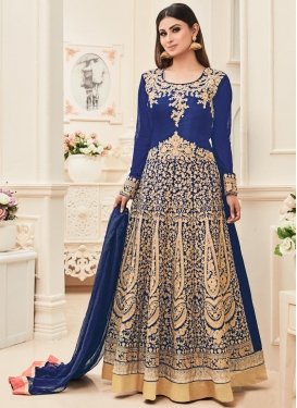 Mouni Roy Banarasi Silk Long Length Anarkali Salwar Suit